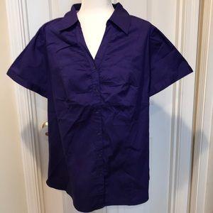 Lane Bryant Size 18 Button Up Short Sleeve Shirt